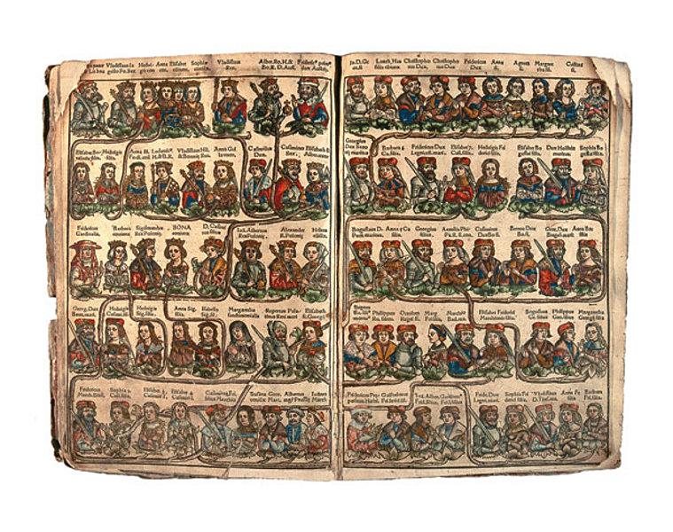 Justus Jodok Decjus, De vetustatibus Polonarum..., drzewo genealogiczne Jagiellonów, Kraków 1521